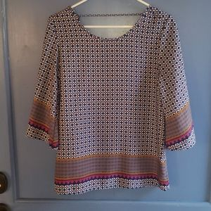 Peach Love Blue Patterned Top